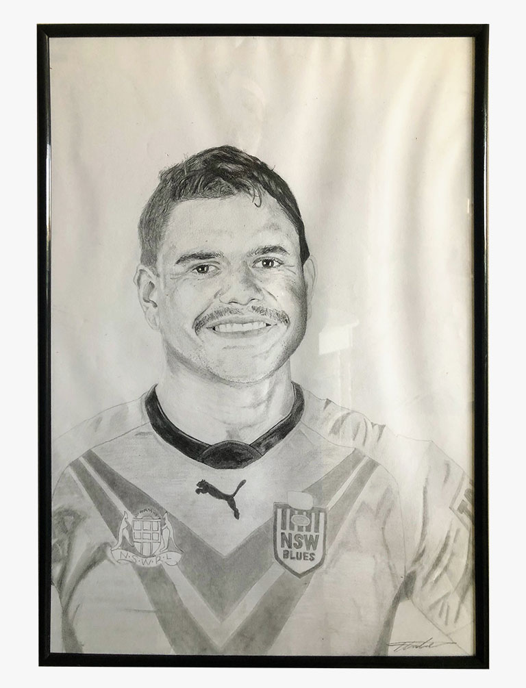 A drawing by Cooper Tarleton of Rabbitohs star Latrell Mitchell